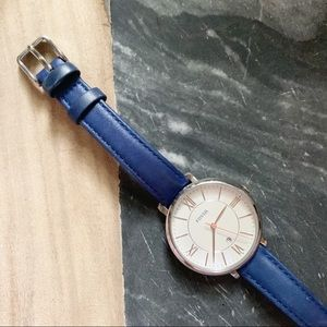 FOSSIL• navy blue and silver genuine leather watch